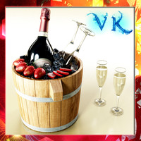 Champagne Set 2 - Bottle, Ice Bucket, Flute and Strawberries
