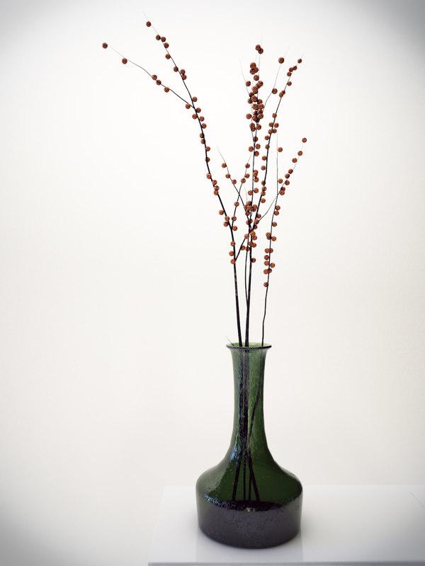 vase branches berries 3ds