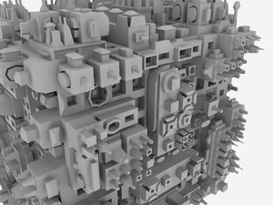 complex greebled cube dxf
