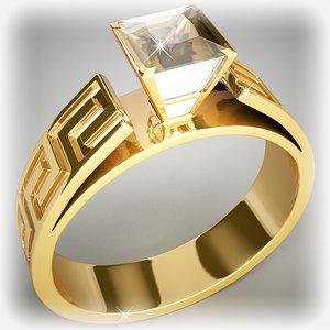 3d gold ring diamond