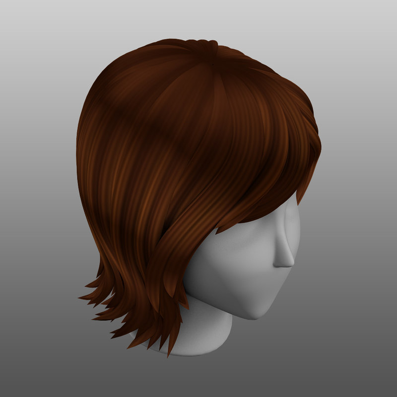 3d Hair Stylized Female Medium Model