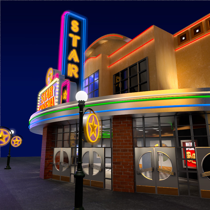 3ds max movie theater exterior