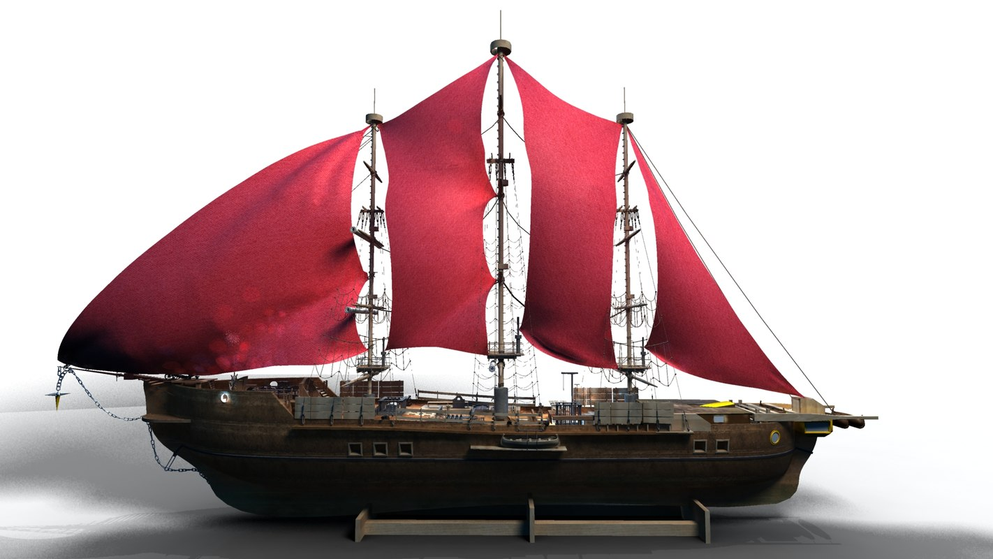 3d ship sailing old model
