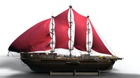 ship sailing old 3d model
