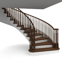 3d model wooden staircases step