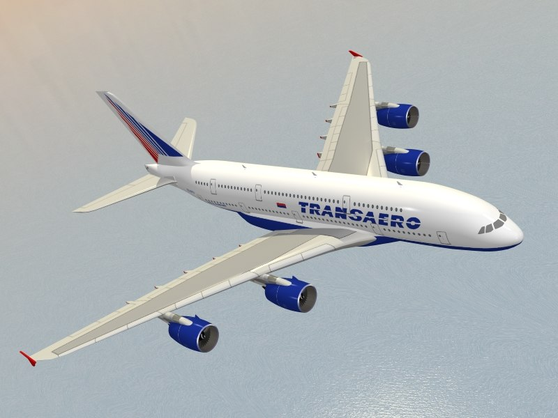 airbus a380-800 transaero airlines 3d max