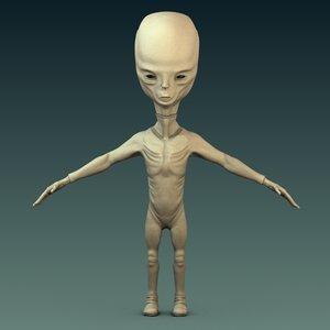 3d alien grey pilot