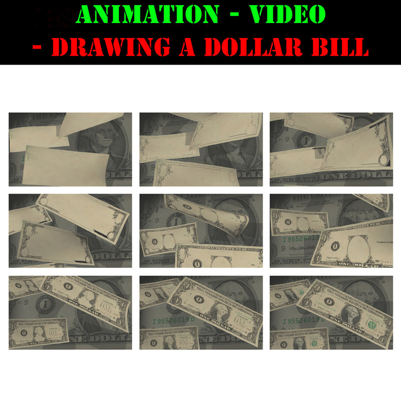 3d video animation drawing dollar bill model