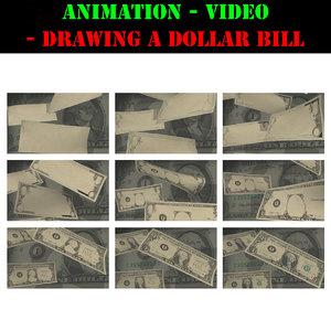 3d video animation drawing dollar bill model