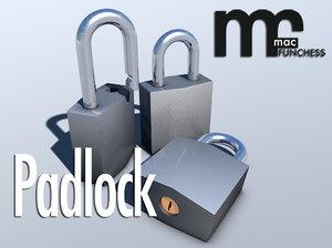 3d model keyed padlock