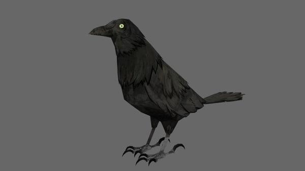 3d crow cartoon toon model