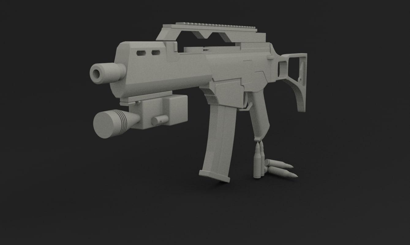 3d obj mg-36 assault rifle