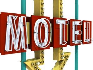 neon motel sign vintage 3d model