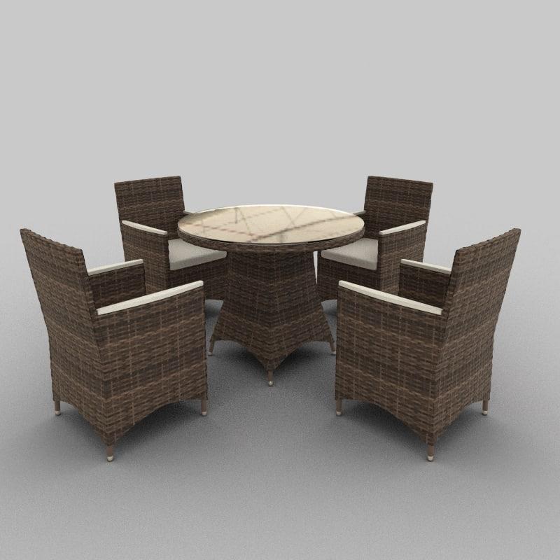 rattan seat set 02 3d model