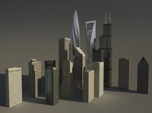 3dsmax low-poly skyscrapers