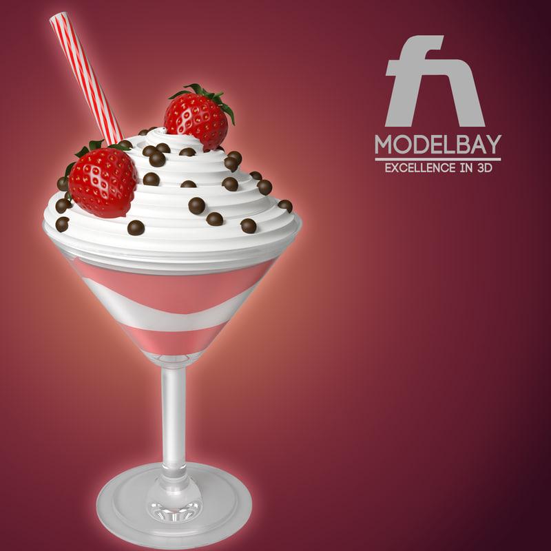 strawberry ice cream 3d max