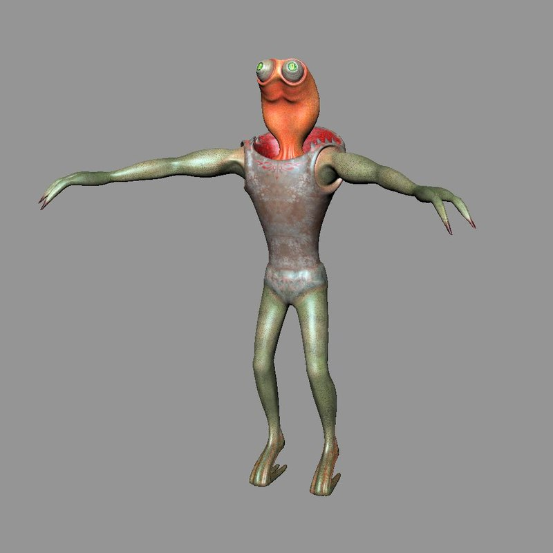3d tonger character alien model