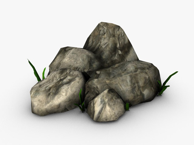 rocks plants small 3d model