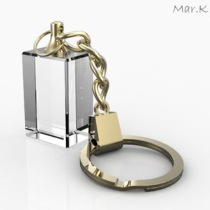 3d glass keyring-pendant