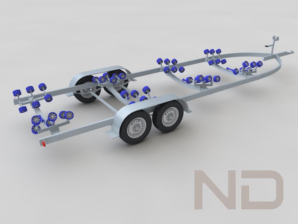boat trailer tandem 3d model
