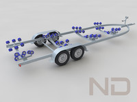 boat trailer tandem 3d model