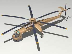 3d model sikorsky ch-54a skycrane helicopter