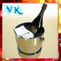 Champagne Set 3 - Ice Bucket Stand, Bottle, Towel and Flute
