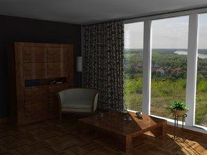 simple interior 3d c4d