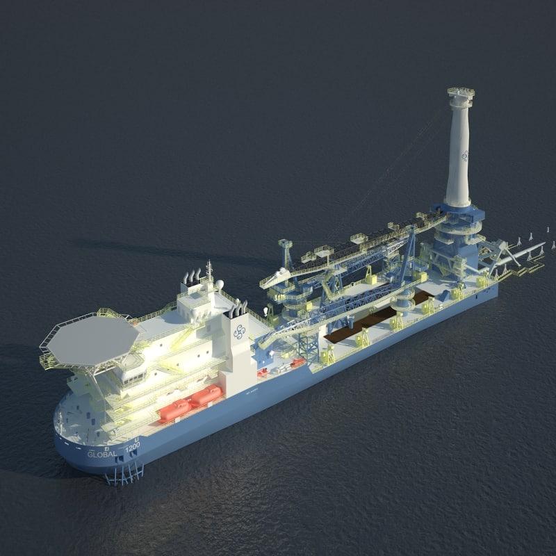 global 1200 crane ship 3d max