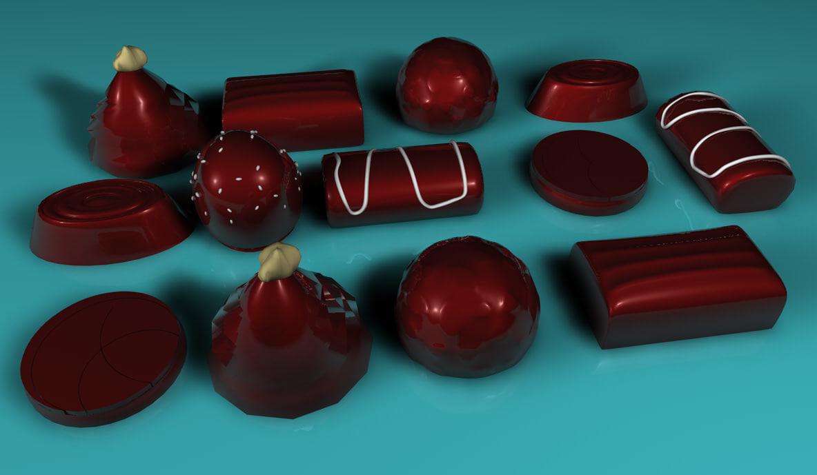free chocolates choco 3d model