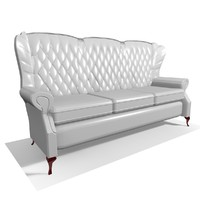classic 3 seater leather chair 3d model