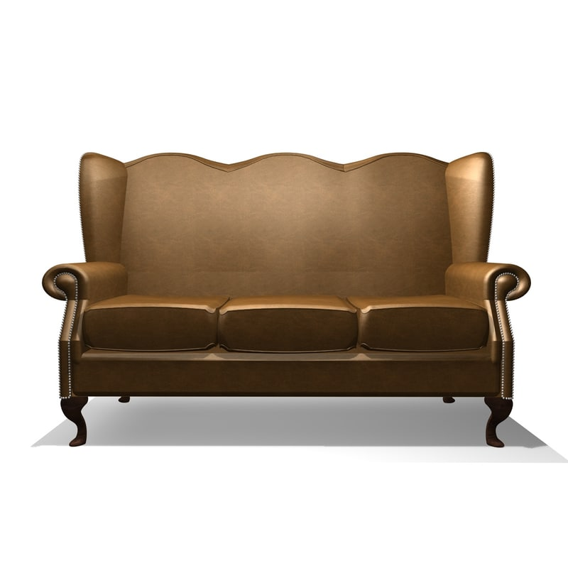 classic winged 3 seater 3d c4d