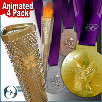 2012 Olympics Torch & Medals (4 Pack)