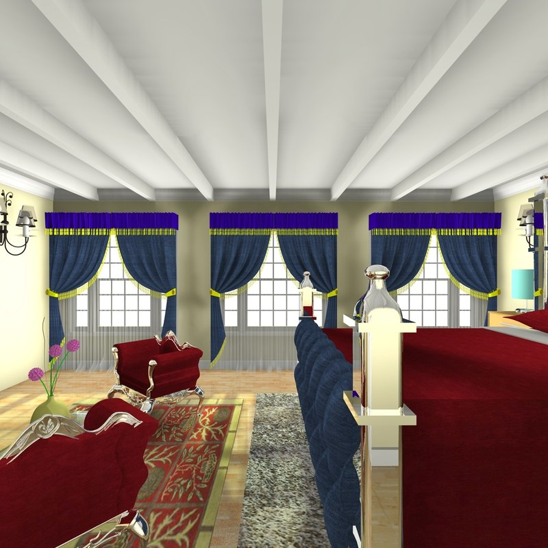3d bedroom home interior model