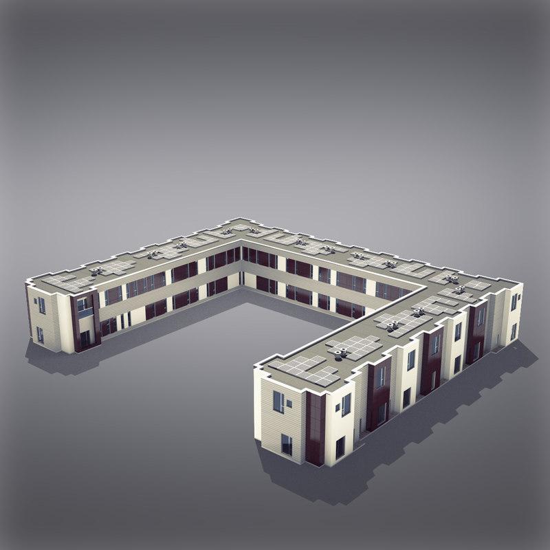 3d model modern generic building architectural