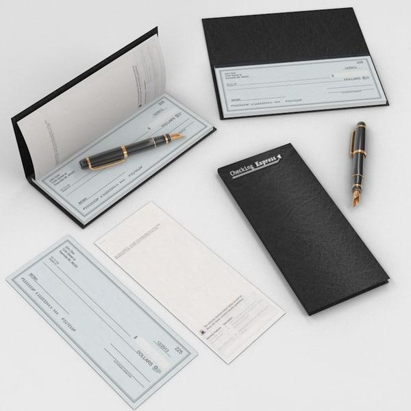 3d model check book fountain pen
