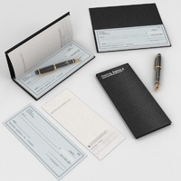 3d model check book fountain pen