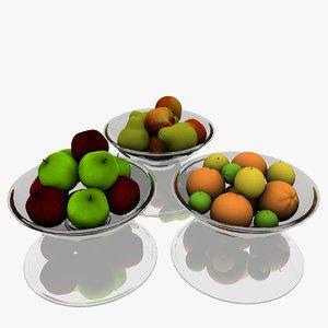 3d 3ds realistic fruit bowl set