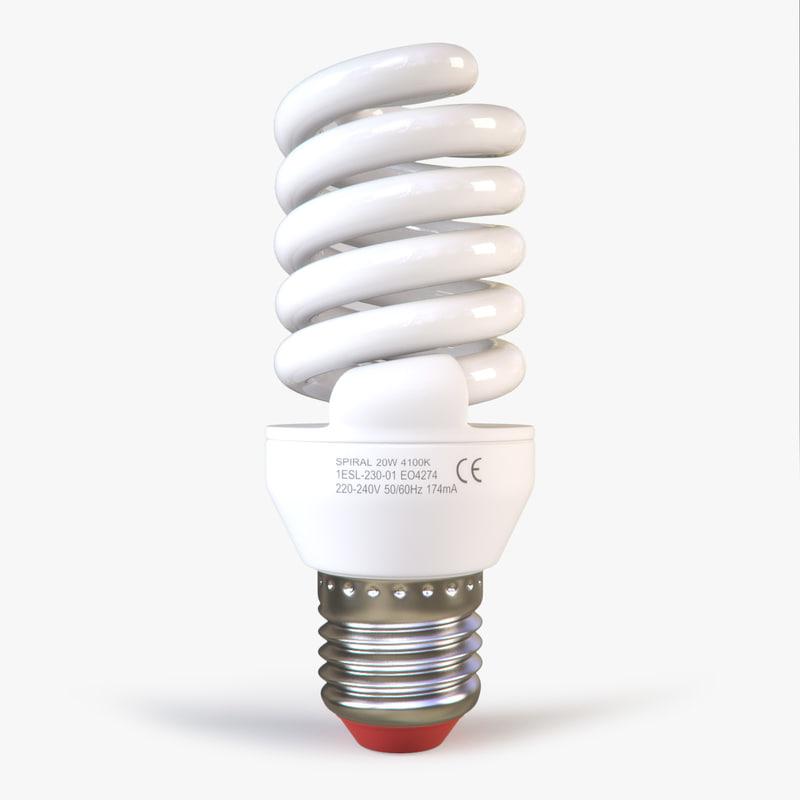 3d model white energy saving lamp