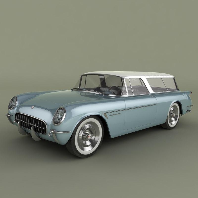 3d 1954 chevrolet corvette nomad