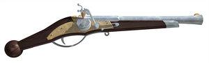 3d model pistol wheellock wheel
