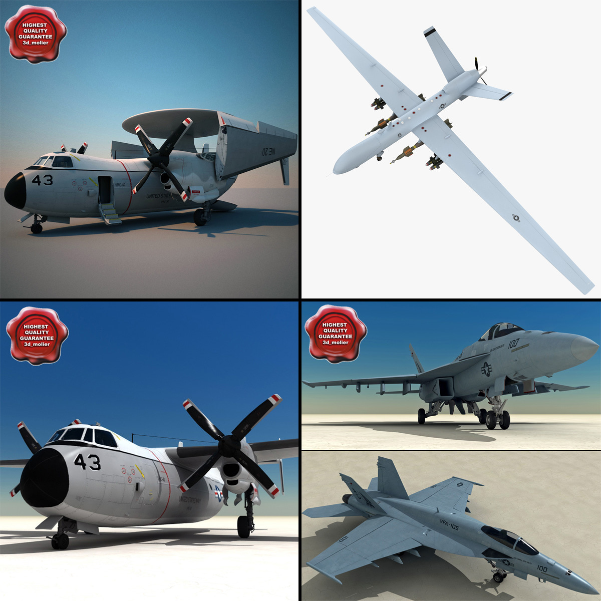 3d model navy airplanes v2