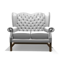 3d model of georgian 2 seater leather chair
