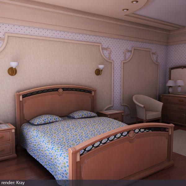 wood bedroom scene 3d model
