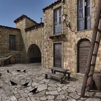 3d village europe houses model