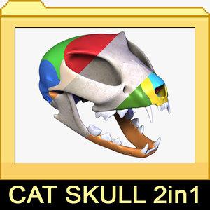 realistic cat skull 1 3d max