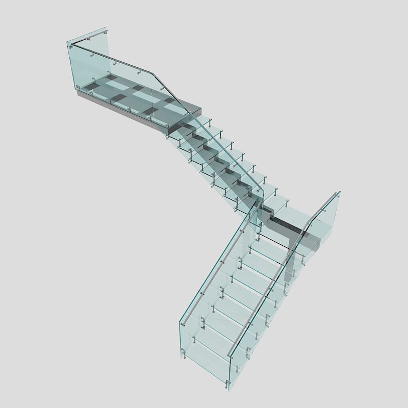 3ds max corner stair glass