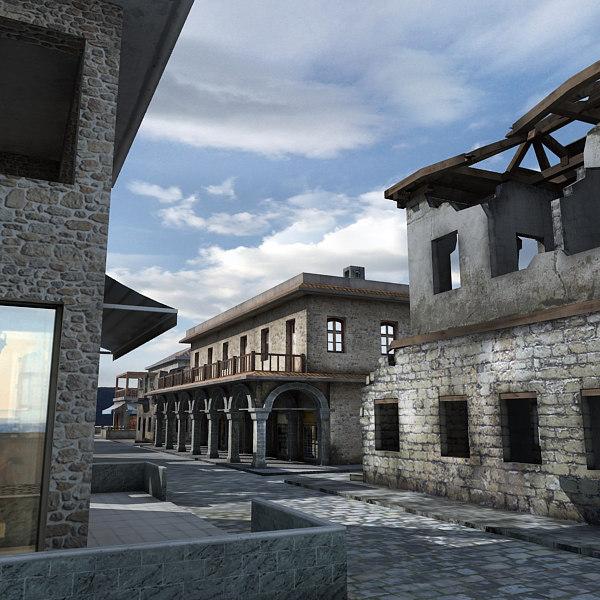 historical buildings shop ruined 3d model