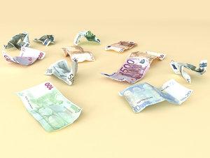 crumpled money 3d max