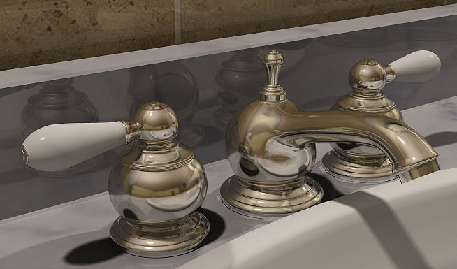 3d lwo faucet gold bathroom